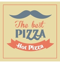 Pizza mustache ribbon icon fast food design vector