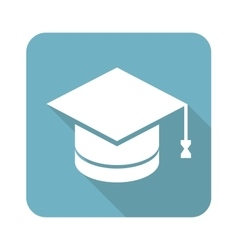 Academic hat square icon vector