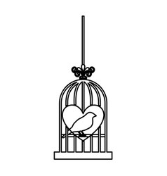 bird cage with heart isolated icon vector image vector image