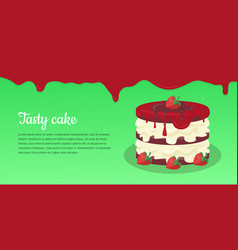 bon appetit festive cake web banner chocolate vector image vector image