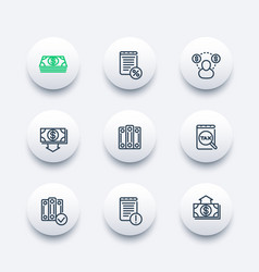 Bookkeeping line icons set vector