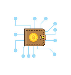 Brown bitcoin wallet and mining concept vector