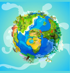 cartoon earth planet light concept vector image vector image