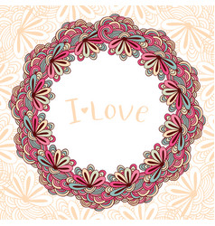 Circle doodle floral ornament decorative frame vector