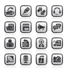 communication and social network icons vector image vector image