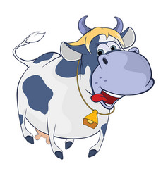 Cute cow cartoon character vector