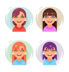 Cute girl avatar icons set flat design vector image vector image