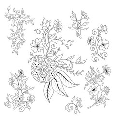 Decorative flower doodle style collection vector