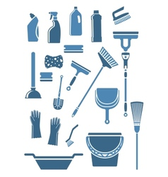 Domestic cleaning tools and supplies vector