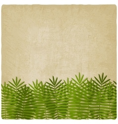 exotic green palm leaves old background vector image