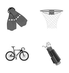 Flippers for swimming basketball basket net vector