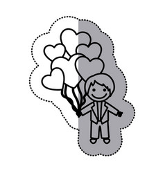 Hand drawn sticker silhouette with groom and vector