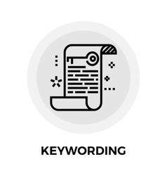 Keywording line icon vector