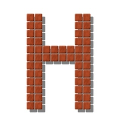 Letter h made from realistic stone tiles vector