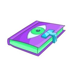 Magic book icon in cartoon style vector