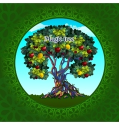 Magical tree with apples and lemons vector