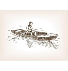 Man in boat sketch style vector