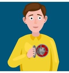 Man with an artificial mechanical heart vector