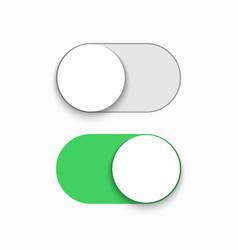 Modern green slider button on white vector