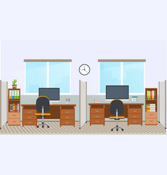 Office interior with workstation vector