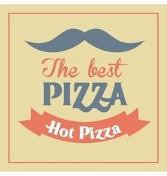 Pizza mustache ribbon icon fast food design vector