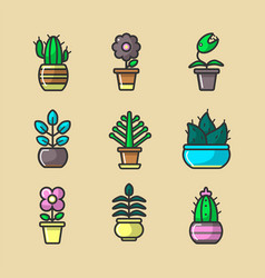 Plants and flowers in pots collection of vector