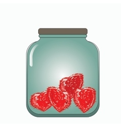prickly hearts stored in a glass jar vector image vector image