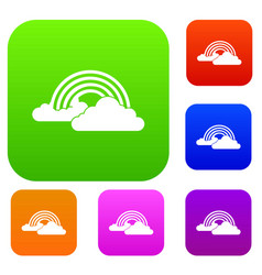 Rainbow and clouds set collection vector