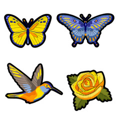 rose hummingbird and butterflies embroidery patch vector image vector image