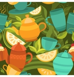 seamless pattern of tea vector image vector image