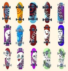 Set of skateboards and skateboarding elements vector image