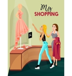 Shopping girl in store interior vector
