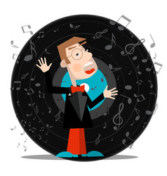 Singer with vinyl record music symbol with notes vector