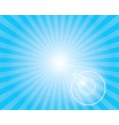 Sun sunburst pattern with lens flare blue sky vector