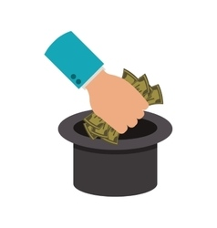 Top hat and money bills vector