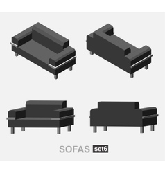 Set of the isolated sofa vector image