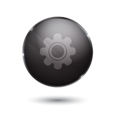 Black glossy setting icon button vector