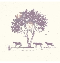 horse silhouette and tree vector image