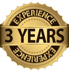 3 years experience golden label with ribbon vector image