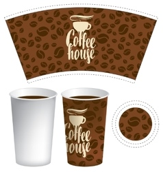 template of paper cup for hot drink vector image