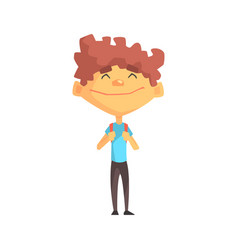 Curly boy in blue t-shirt smiling primary school vector