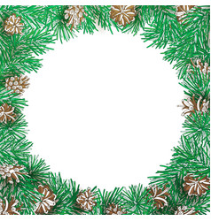 Pine branch and cone round frame vector