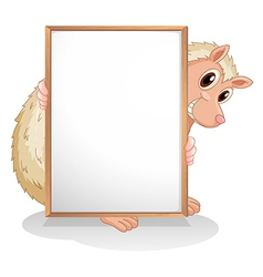 A molehog holding an empty board vector