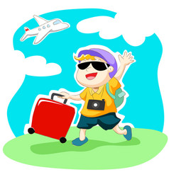 Happy traveller with luggage and airplane vector