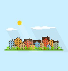 Small town street vector