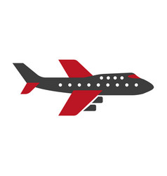 black and red colored airplane vector image