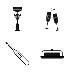 Cup champagne and other web icon in black style vector