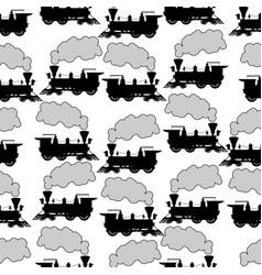 silhouette steam locomotive seamless background vector image