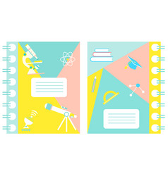set of notebook covers with science theme vector image