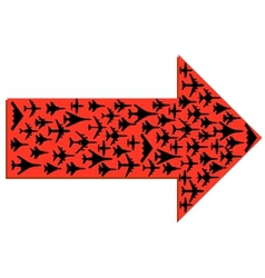Directional arrow with the airplanes inside vector